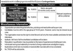 Jobs in Pakistan For Matric Passengers